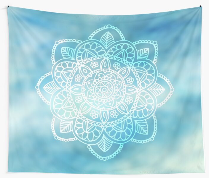 Blue Sky Mandala by julieerindesign