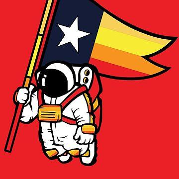 Houston Champ Texas Flag Astronaut Space City by AlienatedOpus
