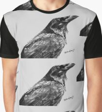 Raven Charcoal Drawing Graphic T-Shirt
