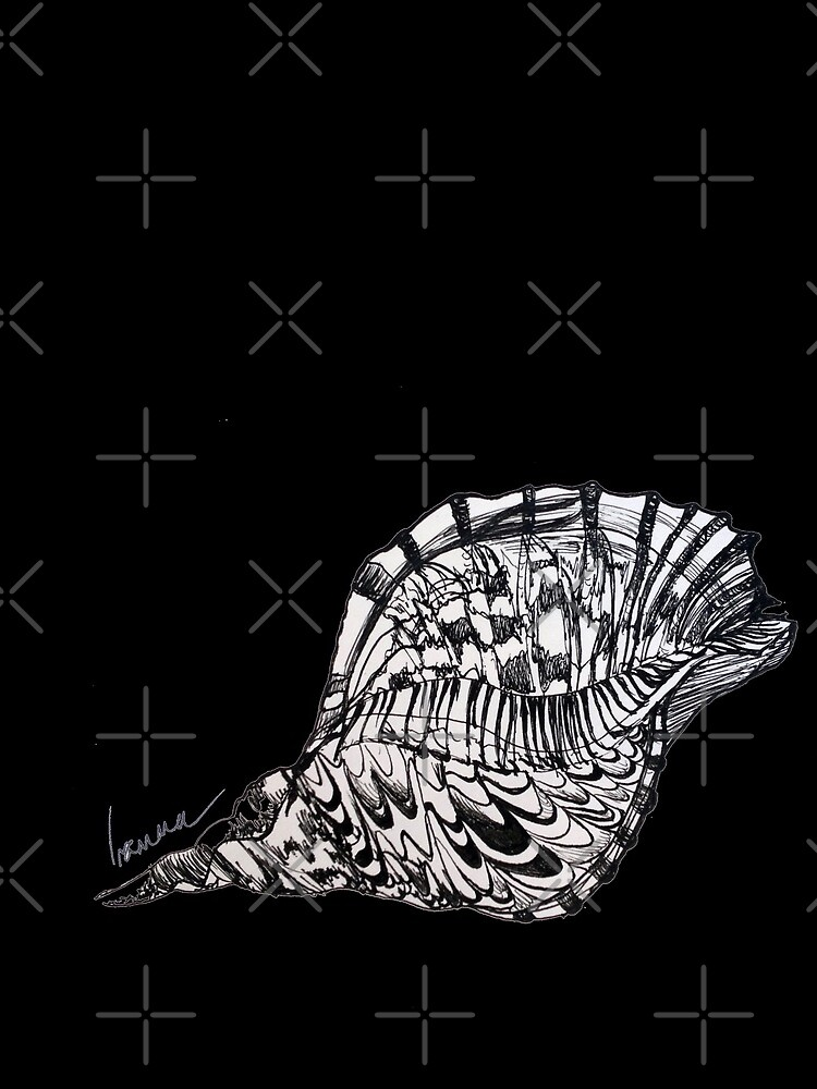 Seashell Print Beach Minimalist, Oriental Zen, Sumi e, ink, ocean, sea life, bay, harbor, beach, modern decor, coastal, watercolor, black white, mermaid, pearl   by arteivanna