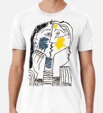Pablo Picasso Kiss 1979 Artwork Reproduction For T Shirt, Framed Prints Men's Premium T-Shirt