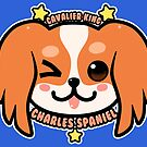 KAWAII Cavalier King Charles Spaniel Dog Face by TechraNova