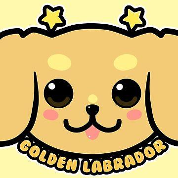 KAWAII Golden Labrador Dog Face by TechraNova