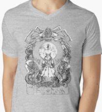 Camiseta para hombre de cuello en v Carta de Tarot Transmitida por Sangre - La Luna