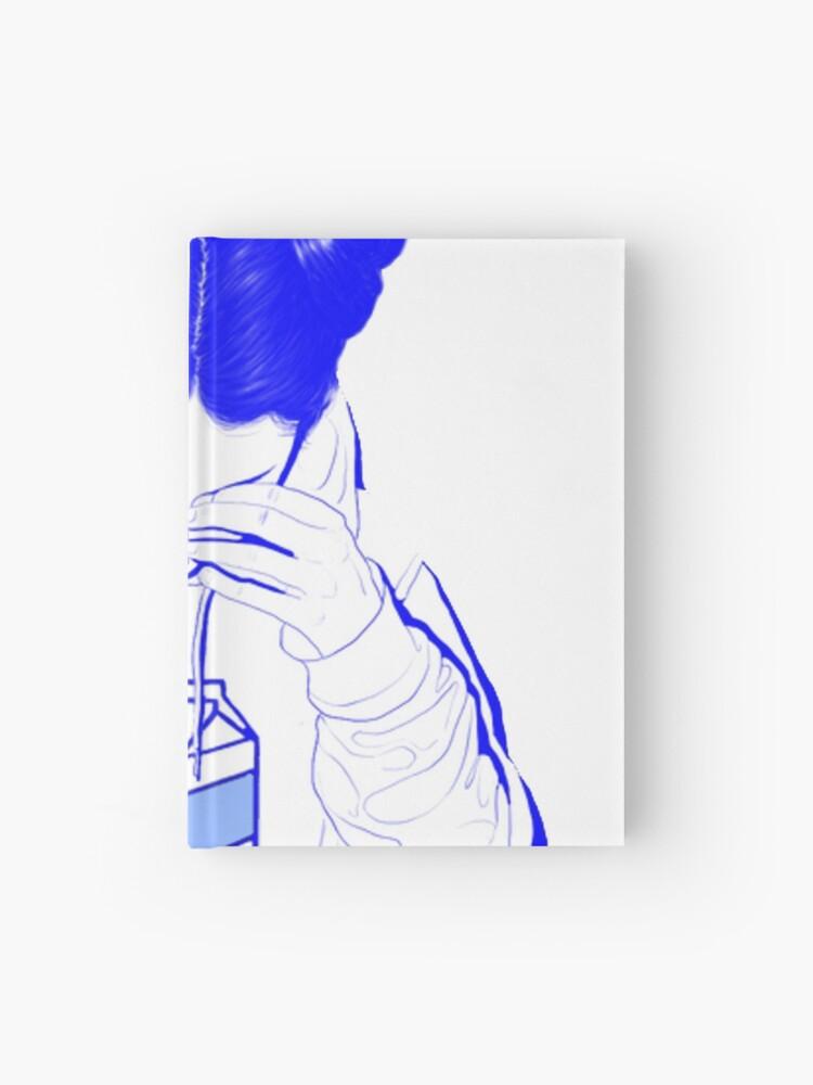 Japanese Milk Vaporwave Aesthetic Sad Girl Crying Over Milk Hardcover Journal