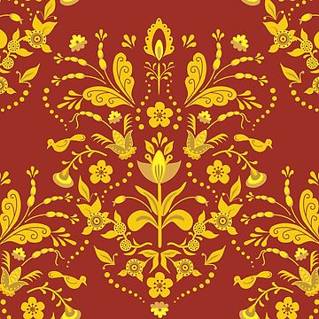 Burgundy and Gold Swedish Tole Style Damask with Flowers and Birds by vinpauld