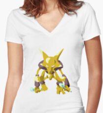 Alakazam Pokemon Simple No Borders Women's Fitted V-Neck T-Shirt