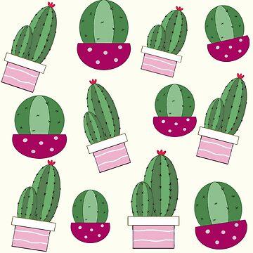 cactus pattern pink and green by NajlaaSA