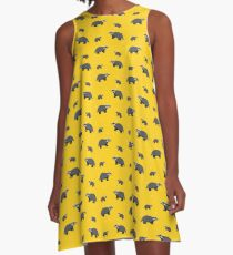House Pride: Yellow and Black Badger Pattern A-Line Dress