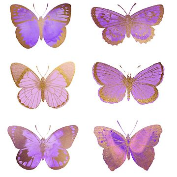 Purple and Gold Butterflies, Sparkly Purple Butterfly by EarthlyIndigo
