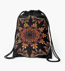 Stained Glass Wings Kaleidoscope 01 Drawstring Bag