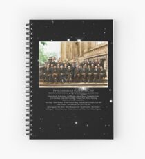 1927 Solvay Conference (deep space NGC3660 bg), posters, prints Spiral Notebook