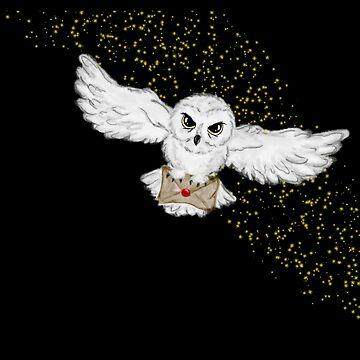 Flying Owl Pillow by ShenaLeonard