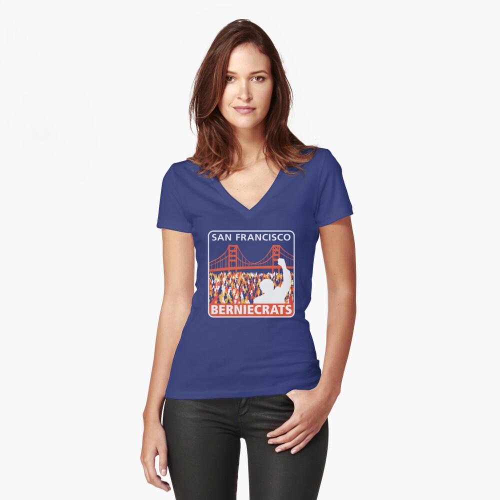 SF Berniecrats Women's Fitted V-Neck T-Shirt Front
