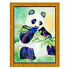 Panda watercolor and Bamboo by Faith Dominoe