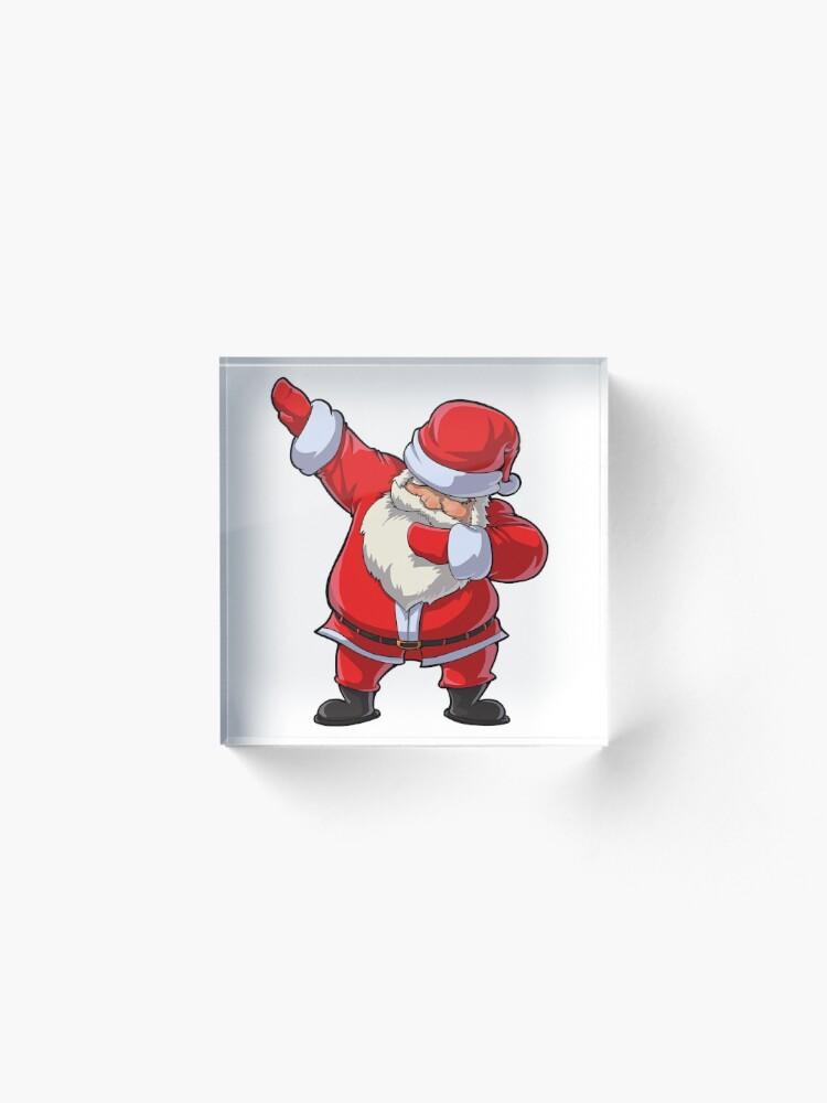 Alternate view of Dabbing Santa T Shirt Claus Christmas Funny Dab X-mas Gifts Kids Boys Girls Youth Acrylic Block