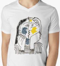 Pablo Picasso Kiss 1979 Artwork Reproduction For T Shirt, Framed Prints Men's V-Neck T-Shirt