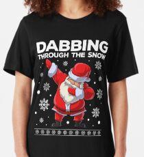 Dabbing Santa Through the Snow T Shirt Christmas Dab Gifts Slim Fit T-Shirt