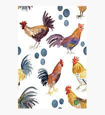 Chickens chickens chickens! Fun watercolor chickens pattern Photographic Print