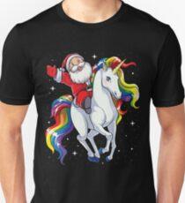 Santa Riding Unicorn T Shirt Christmas Gifts Rainbow Space Xmas T-shirt Gifts Ideas Unisex T-Shirt