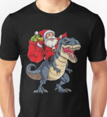 Santa Riding Dinosaur T rex T Shirt Christmas Gifts X-mas Kids Boys Girls Man Women Unisex T-Shirt