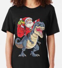 Santa Riding Dinosaur T rex T Shirt Christmas Gifts X-mas Kids Boys Girls Man Women Slim Fit T-Shirt