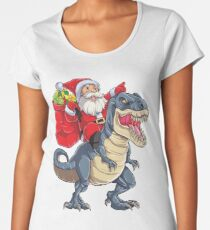 Santa Riding Dinosaur T rex T Shirt Christmas Gifts X-mas Kids Boys Girls Man Women Women's Premium T-Shirt