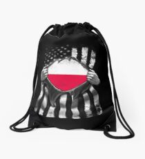 Poland Ripped American Black and White Flag Showing True Polish Flag Origins Perfect For USA Resident With Polish Roots Drawstring Bag