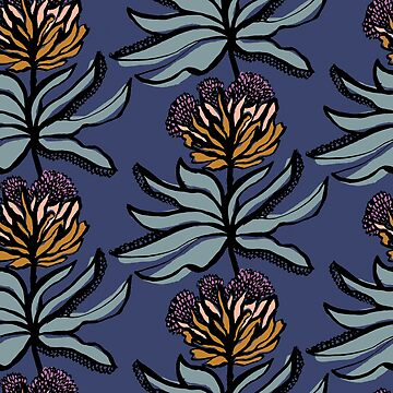 Ink drawn floral on mid blue by Pattern-Design