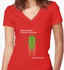 Green Grocer cicada (Cyclochila australasiae) - dark colour shirts Women's Fitted V-Neck T-Shirt