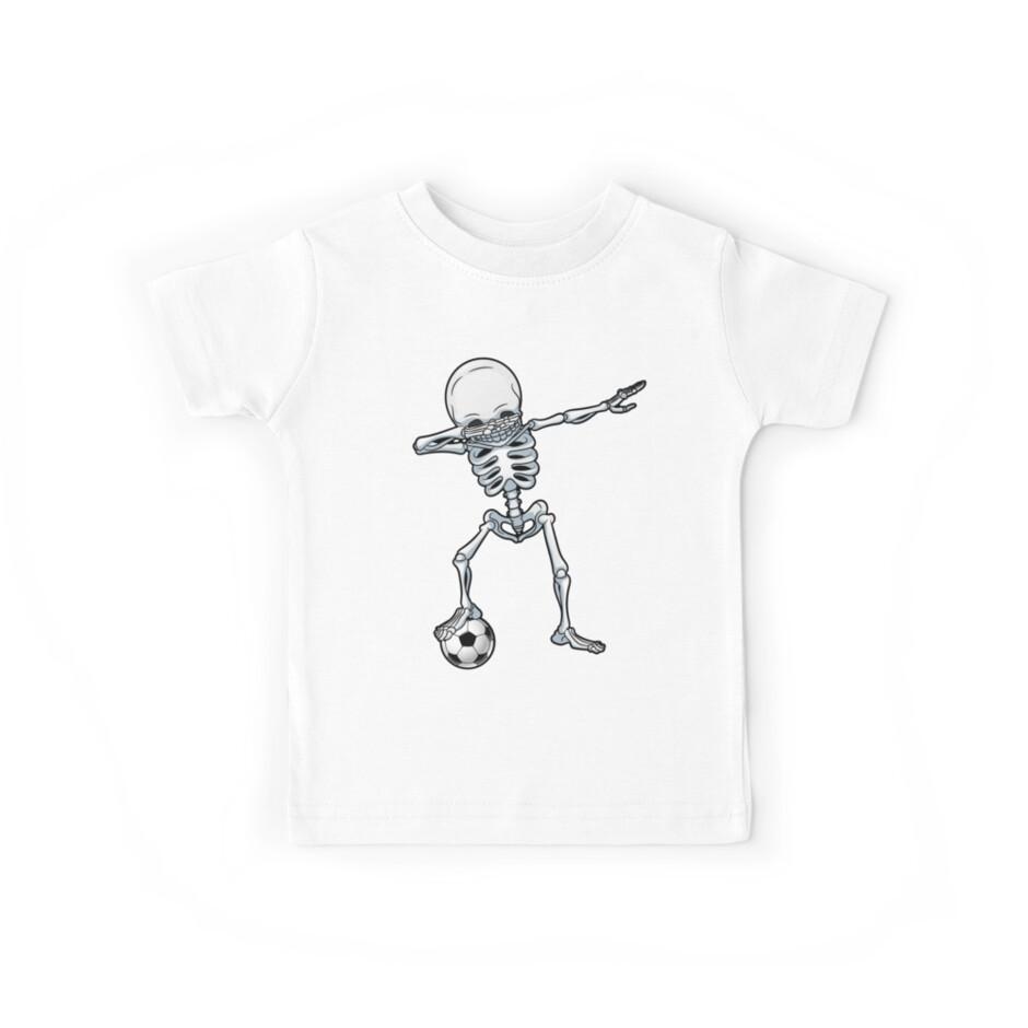 Abtupfendes Skelett-Fußball-T-Shirt Halloween-Kostüm-Schädel-lustige furchtsame Geschenke Kinderjungen-Jugend-Männer von LiqueGifts
