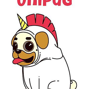 Unipug Cute Pug Dog Unicorn by jutulen