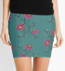 3 Flowers Drawing - Art&Deco By Natasha Mini Skirt