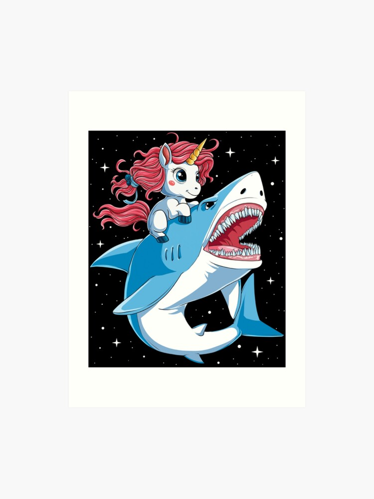 a22860ecfb9370 Unicorn Riding Shark T Shirt Kids Girls Boys Rainbow Squad Cute Gifts Party  Art Print