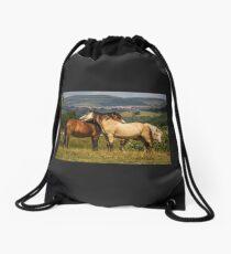 Horses at Play Drawstring Bag