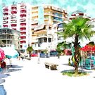 Albania: Fier palm and buildings by Giuseppe Cocco