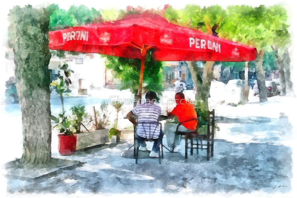 Albania: men at the bar under the umbrella at Fier by Giuseppe Cocco