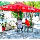 Albania: men at the bar under the umbrella at Fier by Giuseppe Cocco
