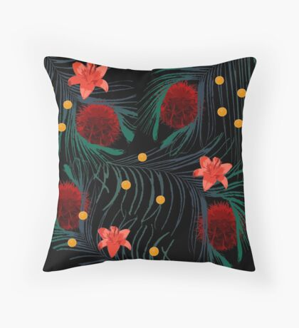 Cactus Red Flower and The Leaves Throw Pillow