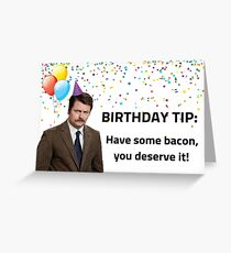 Parks and Rec birthday, Ron Swanson, Happy birthday, bacon and eggs, gifts Greeting Card