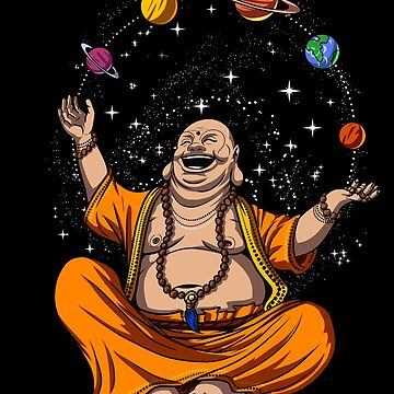 Funny Buddha Space Planets Zen Yoga Meditation by underheaven