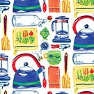 Colorful Hand Painted Kitchen Tools Art by Ragonia