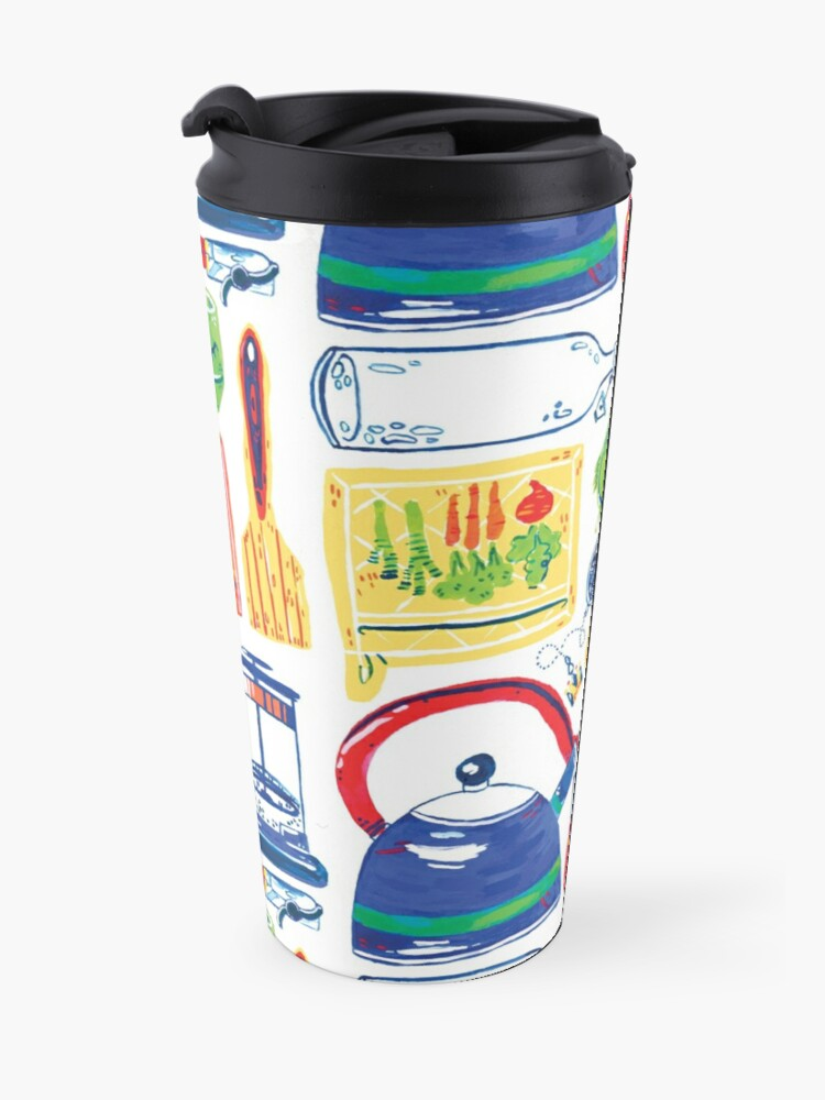 Alternate view of Colorful Hand Painted Kitchen Tools Art Travel Mug
