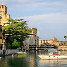 Sirmione on Lake Garda - castle and harbour | Italy by Chris Warham