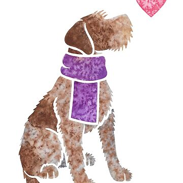 Watercolour German Wirehaired Pointer dog by animalartbyjess