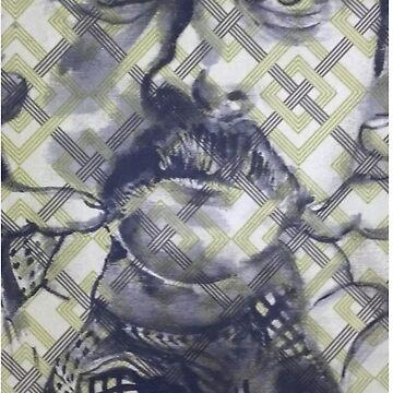Nick Offerman - Acrylic on Geometric Fabric by craftyordie