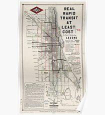 Vintage Chicago CTA Map  Poster