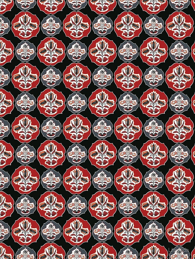 Bohemian Black Red Floral by Limolida