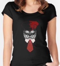 Pilot Cat Red Tie Kitty  Women's Fitted Scoop T-Shirt