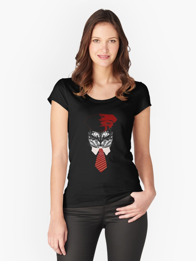 Pilot Cat Red Tie Kitty  Women's Fitted Scoop T-Shirt Front